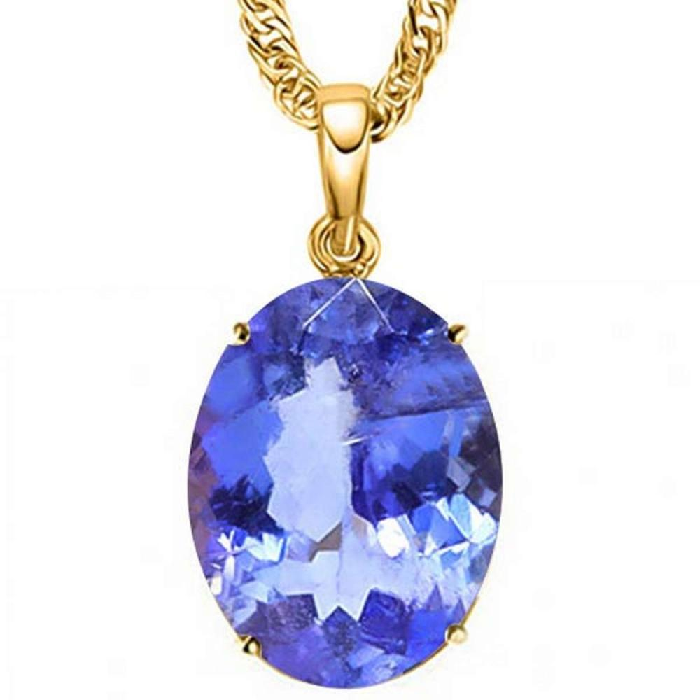 1.3 CTW LAB TANZANITE 10K SOLID YELLOW GOLD OVAL SHAPE PENDANT #IRS56752