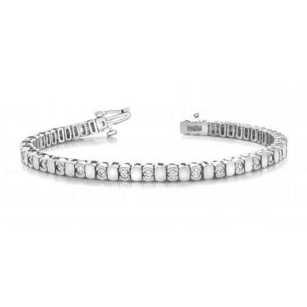 14KT WHITE GOLD 1 CTW G-H VS2/SI1 ALTERNATING BEZEL DIAMOND BRACELET #IRS20112
