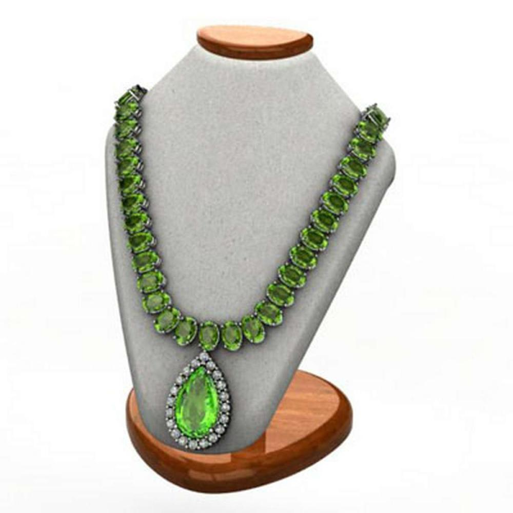Peridot 62.20 ctw & Diamond Necklace 14kt W/Y #IRS12757