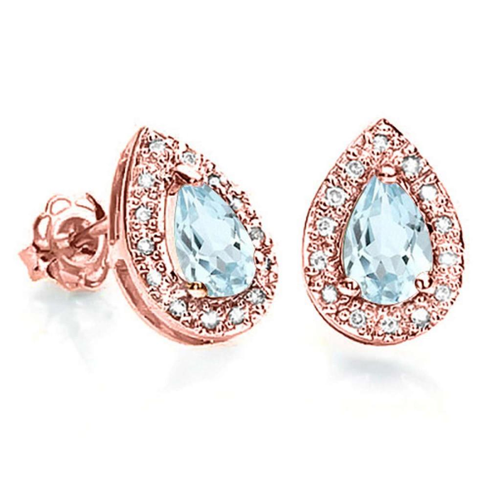 0.37 CT AQUAMARINE AND ACCENT DIAMOND 10KT SOLID ROSE GOLD EARRING #IRS93781