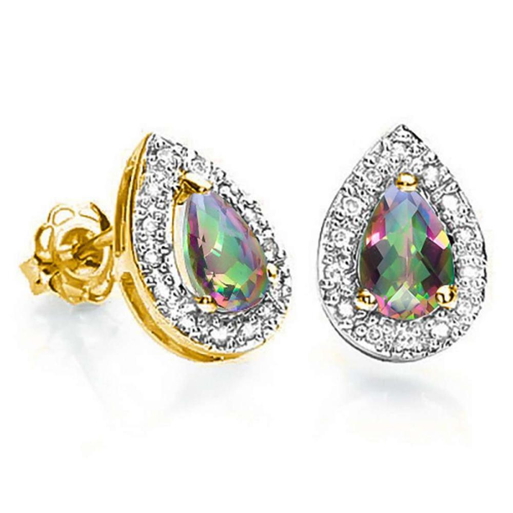 0.59 CT RAINBOW MYSTIC QUARTZ AND ACCENT DIAMOND 10KT SOLID YELLOW GOLD EARRING #IRS93771