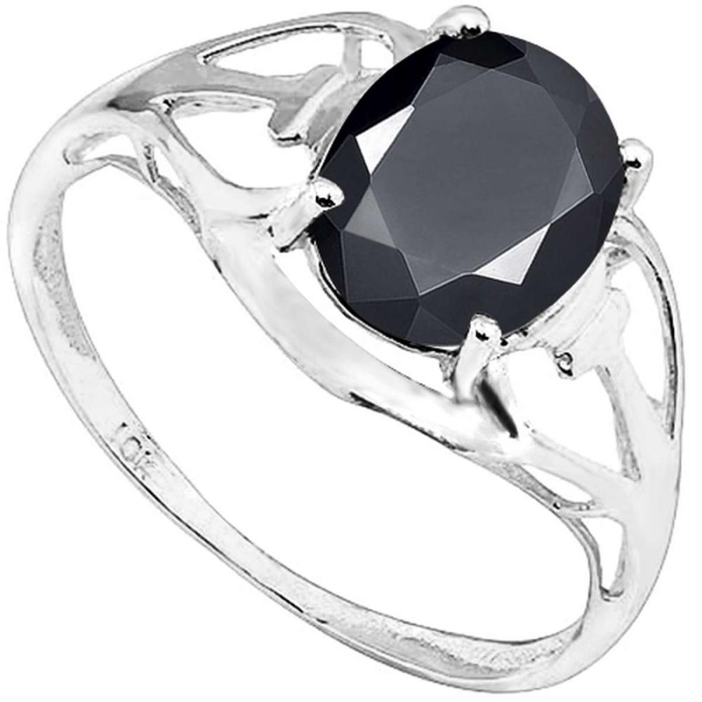 2.2 CT BLACK SAPPHIRE 10KT SOLID WHITE GOLD RING #IRS93790