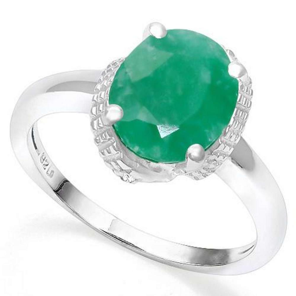 .925 STERLING SILVER 3.45 CTW ENHANCED GENUINE EMERALD & DIAMOND COCKTAIL RING #IRS19837