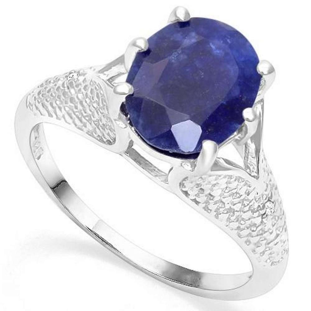.925 STERLING SILVER 3.45CTW ENHANCED GENUINE SAPPHIRE & DIAMOND RING #IRS19988
