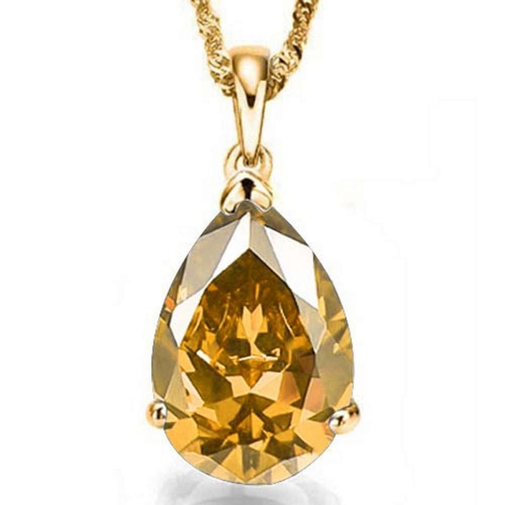 0.7 CTW CITRINE 10K SOLID YELLOW GOLD PEAR SHAPE PENDANT #IRS56768