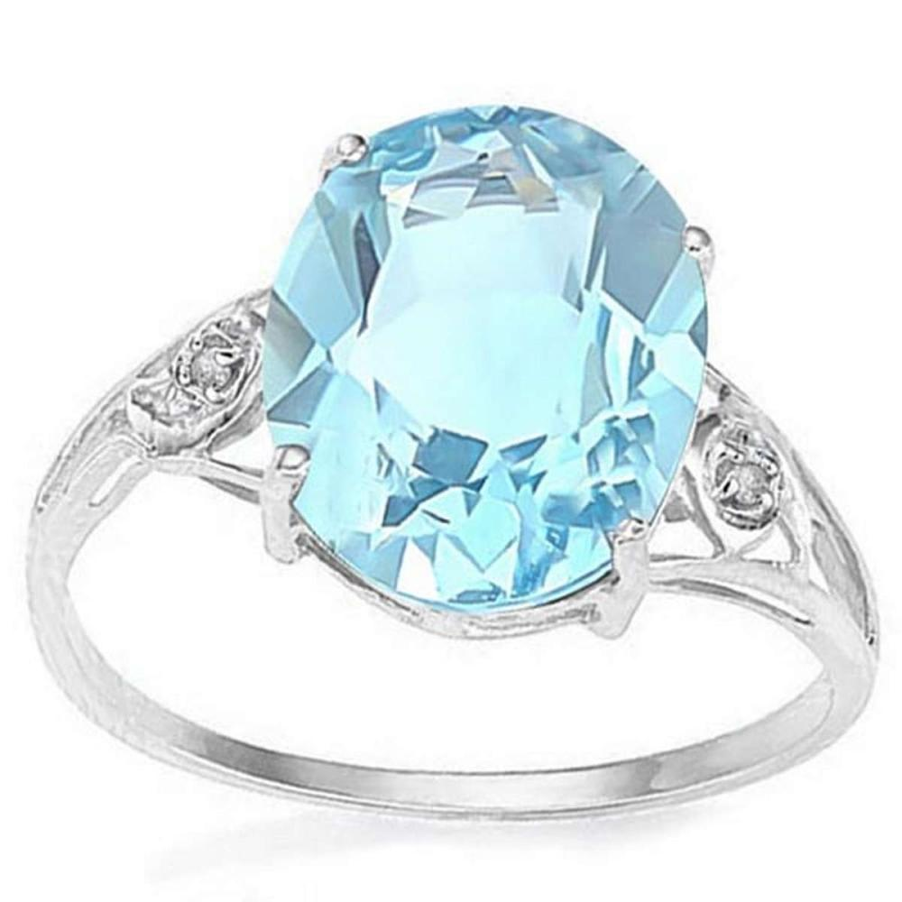 4.4 CT BABY SWISS BLUE TOPAZ & GENUINE DIAMOND (2 PCS) 10KT SOLID WHITE GOLD RING  #IRS56574