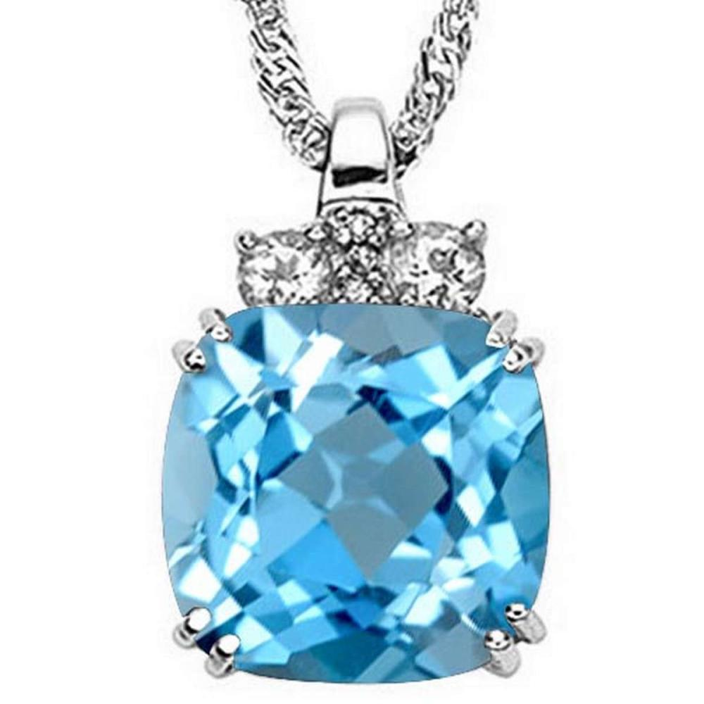 9.0 CTW GENUINE SKY BLUE TOPAZ & 0.28 CTW WHITE TOPAZ & GENUINE DIAMOND (3 PCS) 10KT SOLID WHITE GOLD PENDANT #IRS56612