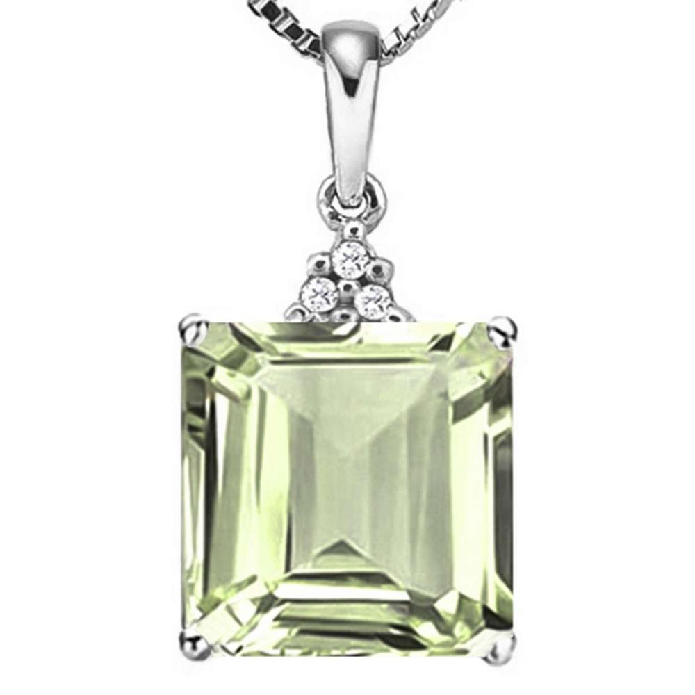 0.91 CTW GREEN AMETHYST 10K SOLID WHITE GOLD SQUARE SHAPE PENDANT WITH ANCENT DIAMONDS #IRS15636