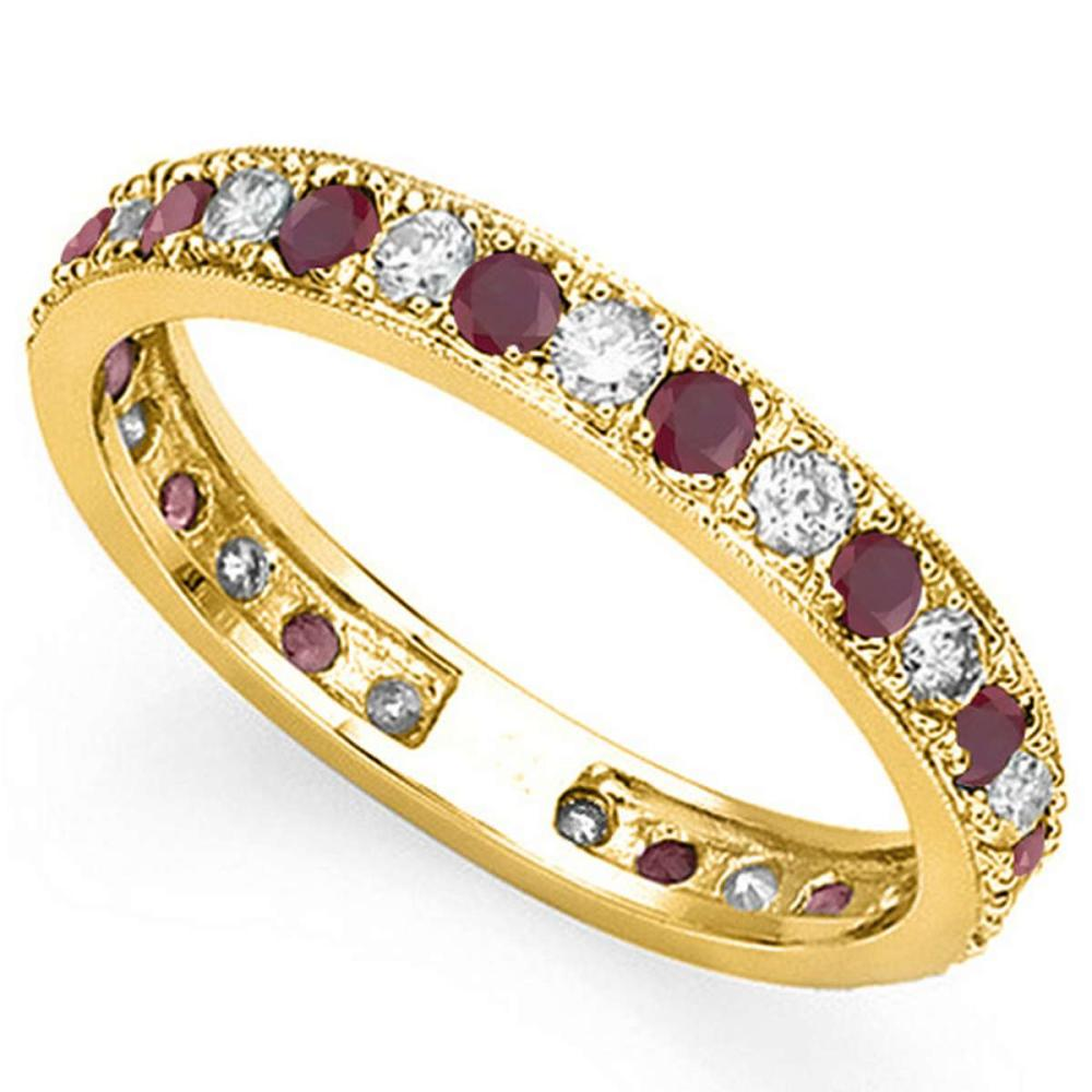 CERTIFIED 0.38 CT RUBY AND 0.6 CT CZ 14KT SOLID YELLOW GOLD RING #IRS93651