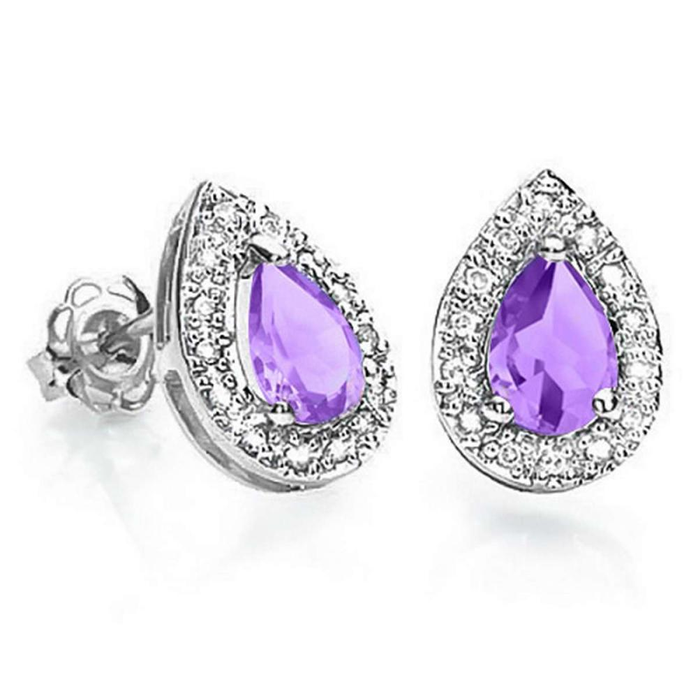 0.57 CT AMETHYST AND ACCENT DIAMOND 10KT SOLID WHITE GOLD EARRING #IRS93761
