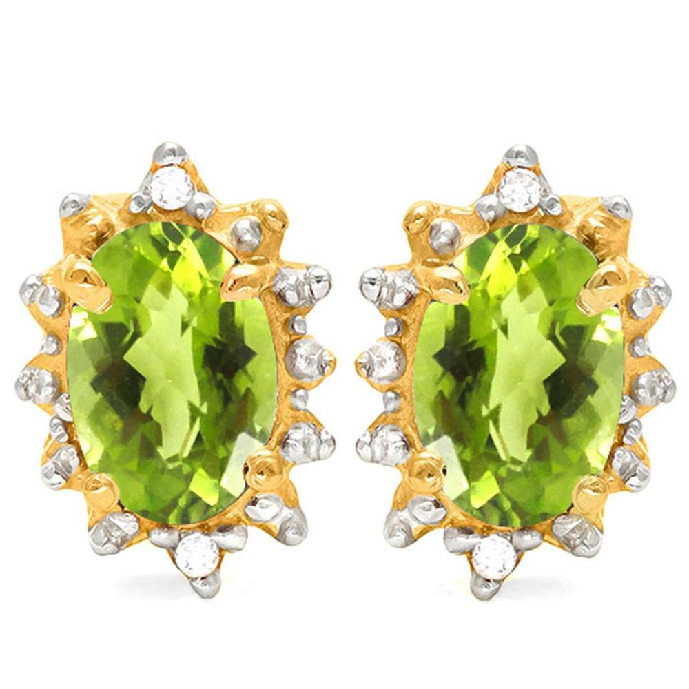 0.98 CT PERIDOT AND ACCENT DIAMOND 10KT SOLID YELLOW GOLD EARRING #IRS93725