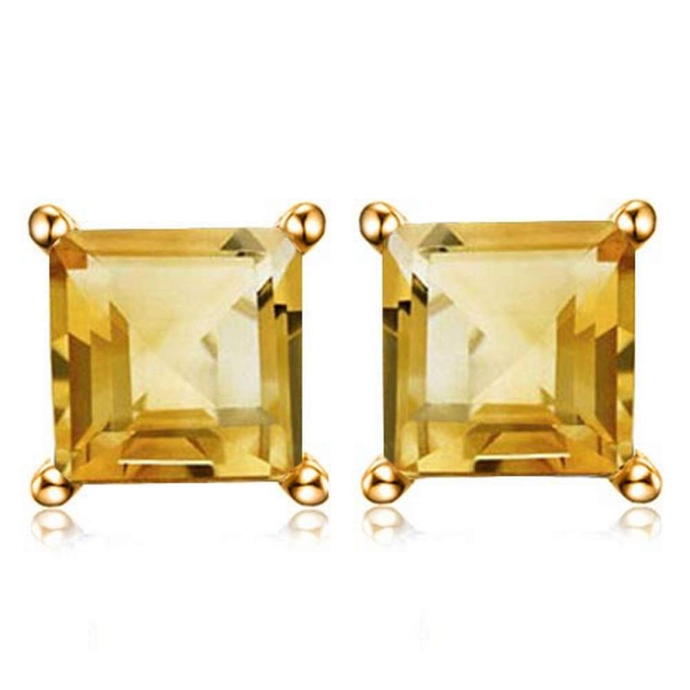 1.9 CTW CITRINE 10K SOLID WHITE GOLD SQUARE SHAPE EARRING #IRS56701