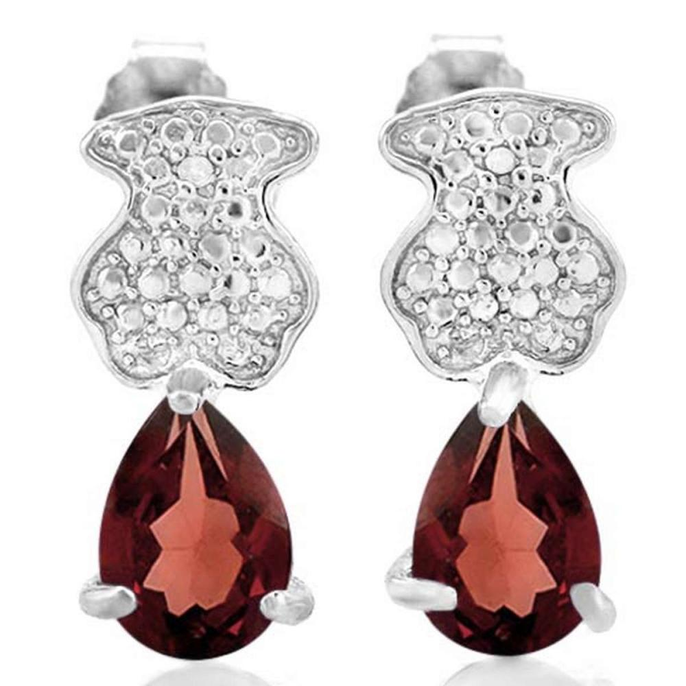 1 3/4 CTW GARNET .925 STERLING SILVER EARRINGS  #IRS20024