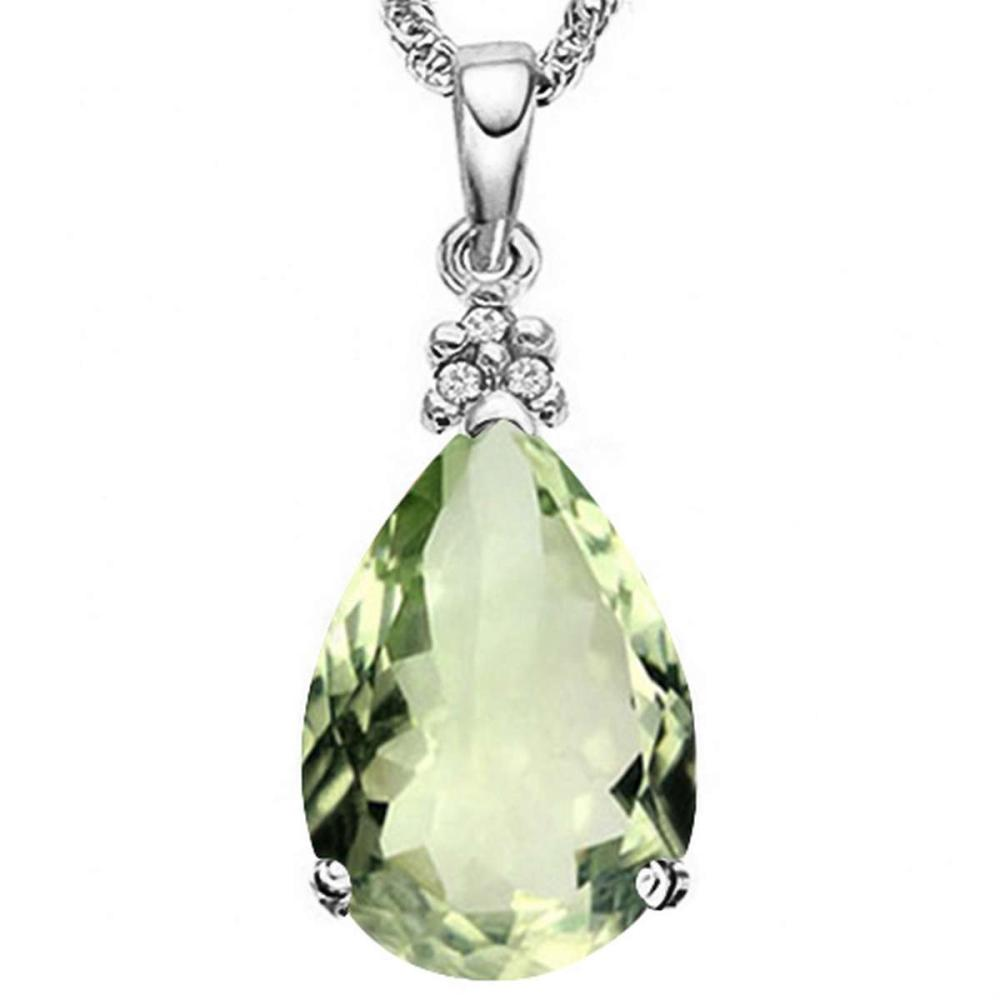 0.68 CTW GREEN AMETHYST 10K SOLID WHITE GOLD PEAR SHAPE PENDANT WITH ANCENT DIAMONDS #IRS15614