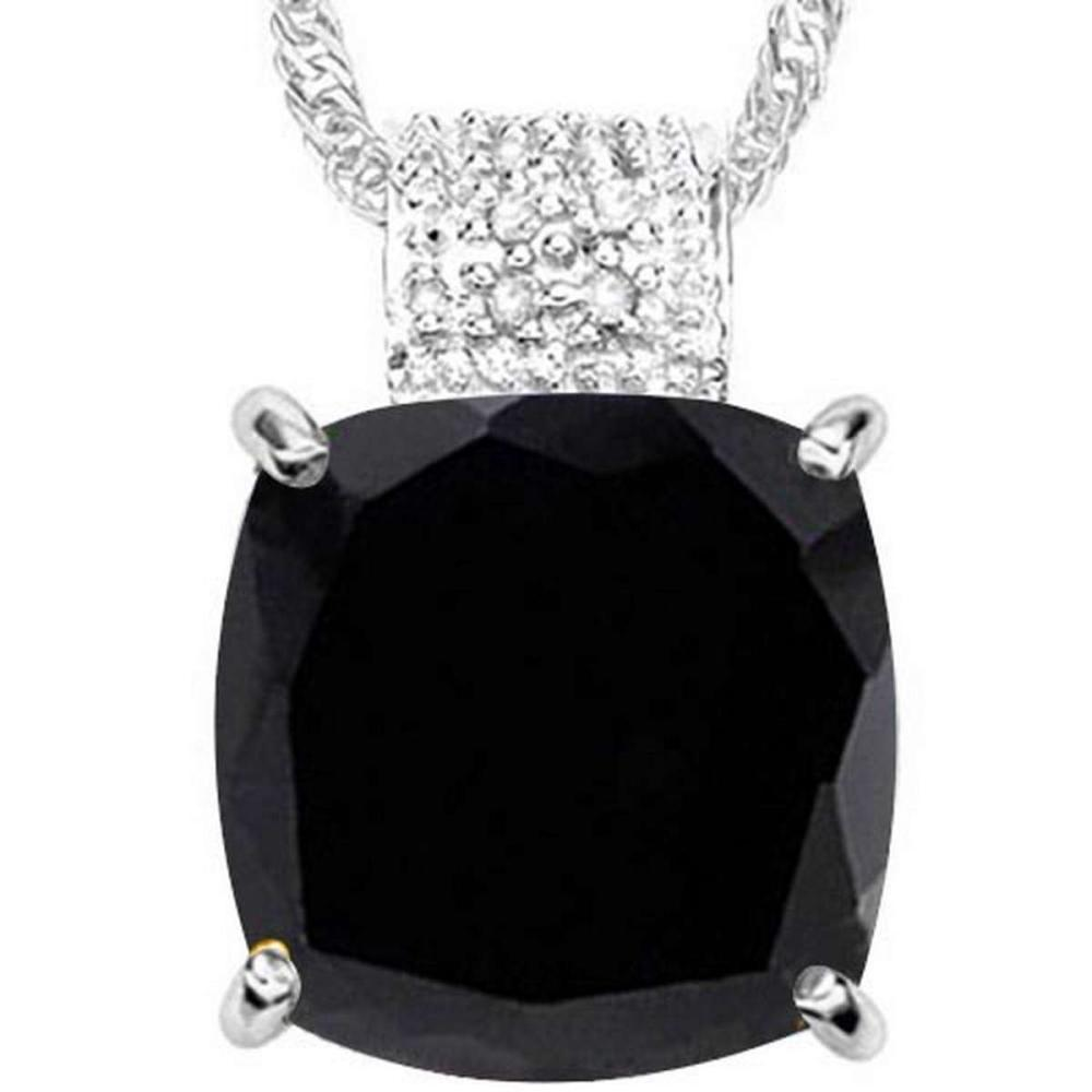 9.1 CTW BLACK SAPPHIRE & GENUINE DIAMOND (8 PCS) 10KT SOLID WHITE GOLD PENDANT #IRS56616