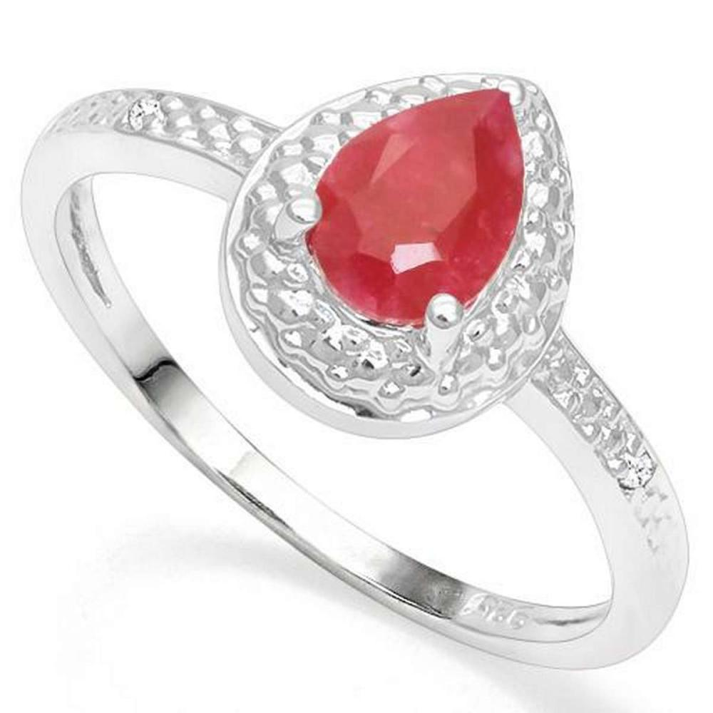 .925 STERLING SILVER 0.87 CTW ENHANCED GENUINE RUBY & DIAMOND COCKTAIL #IRS19832