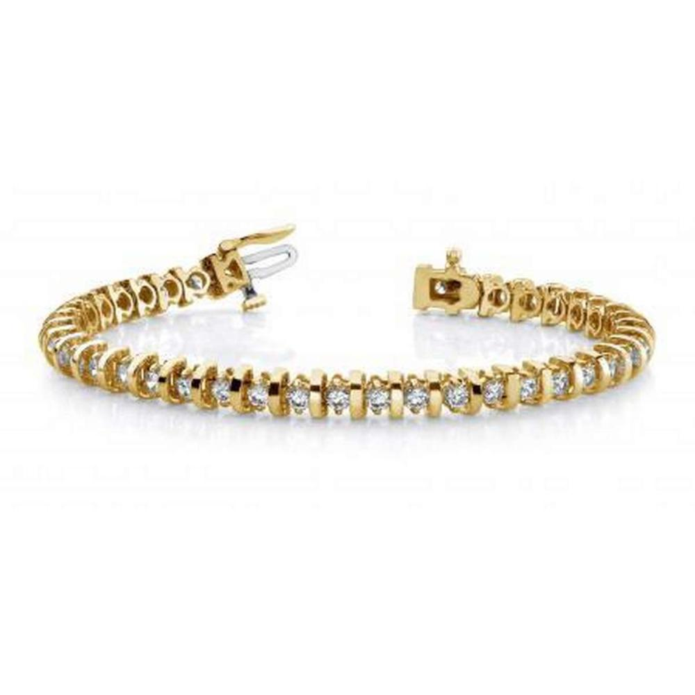 14KT YELLOW GOLD 1 CTW G-H VS2/SI1 SHINY CURVE LINK DIAMOND TENNIS BRACELET #IRS20152