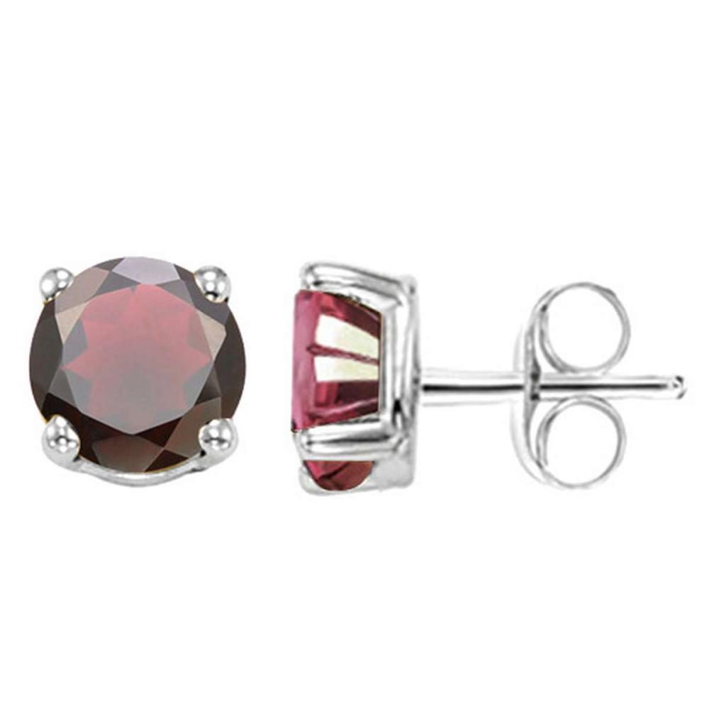 2.39 CT GARNET 10KT SOLID WHITE GOLD EARRING #IRS93672