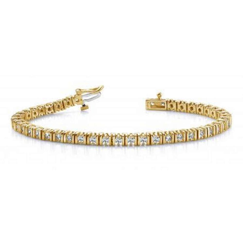 14KT YELLOW GOLD 2 CTW G-H VS2/SI1 DOUBLE LINK DIAMOND TENNIS BRACELET #IRS20174