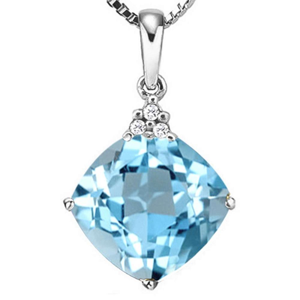 1.19 CTW SKY BLUE TOPAZ 10K SOLID WHITE GOLD CUSHION SHAPE PENDANT WITH ANCENT DIAMONDS #IRS15648
