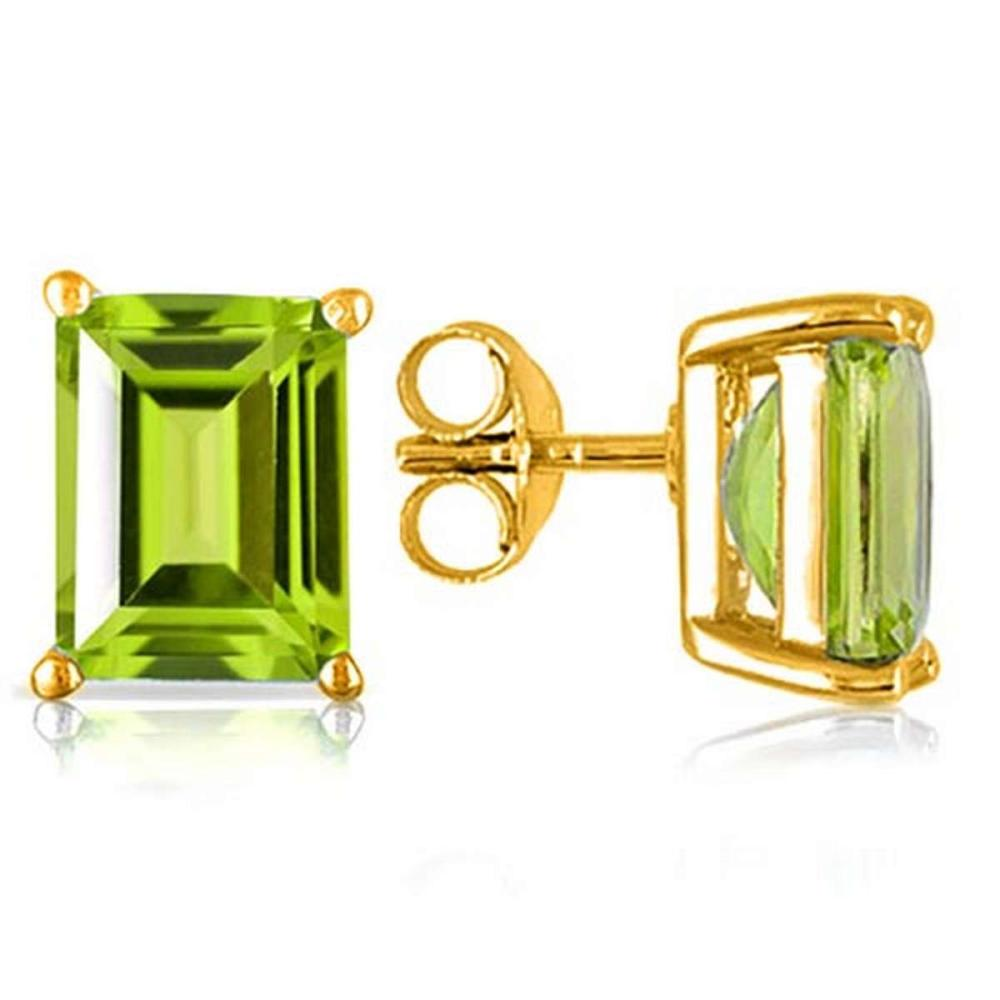 2.25 CTW PERIDOT 10K SOLID YELLOW GOLD OCTAGON SHAPE EARRING #IRS56716