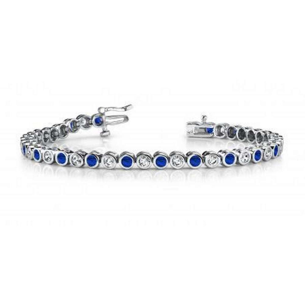 14KT WHITE GOLD 5 CTW G-H VS2/SI1 CLASSIC ROUND BEZEL SET DIAMOND & TANZANITE TENNIS BRACELET #IRS20128