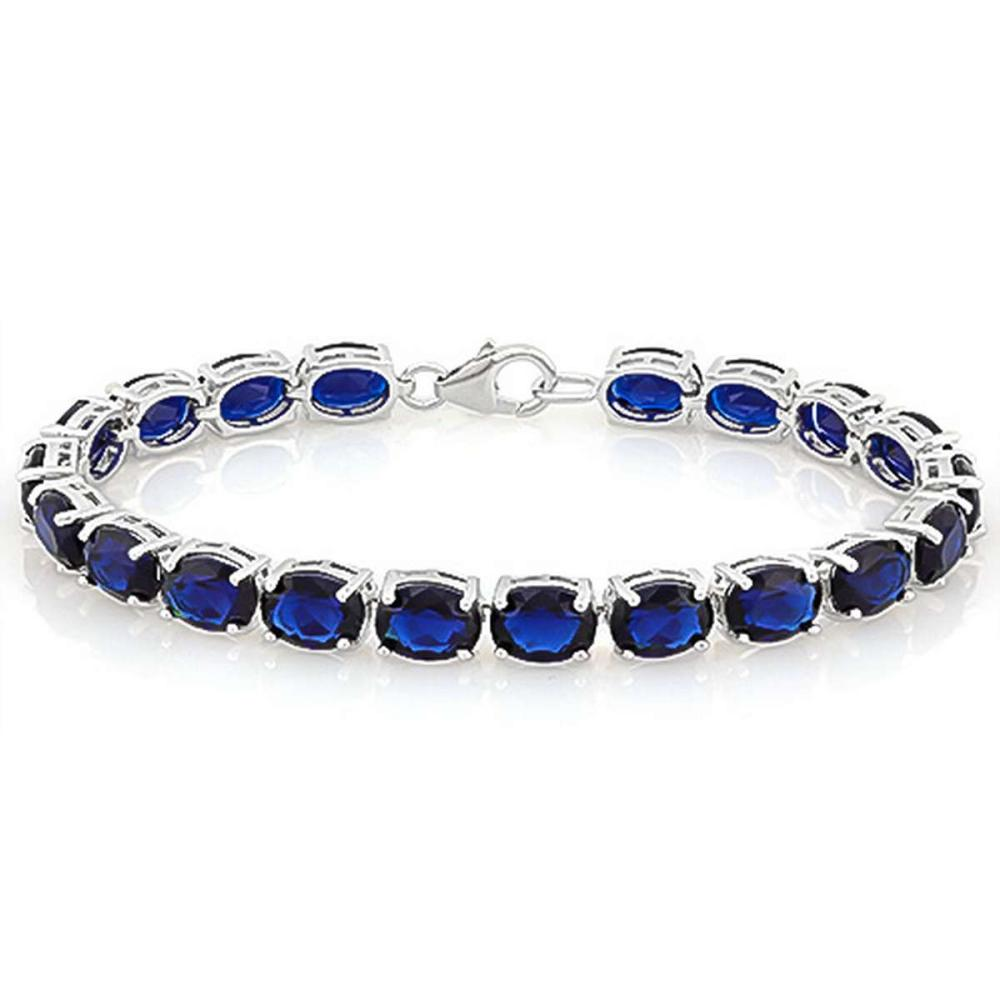 8.5 CTW (26 PCS) CREATED SAPPHIRE 925 STERLING SILVER TENNIS BRACELET IN OVAL SHAPE #IRS15649