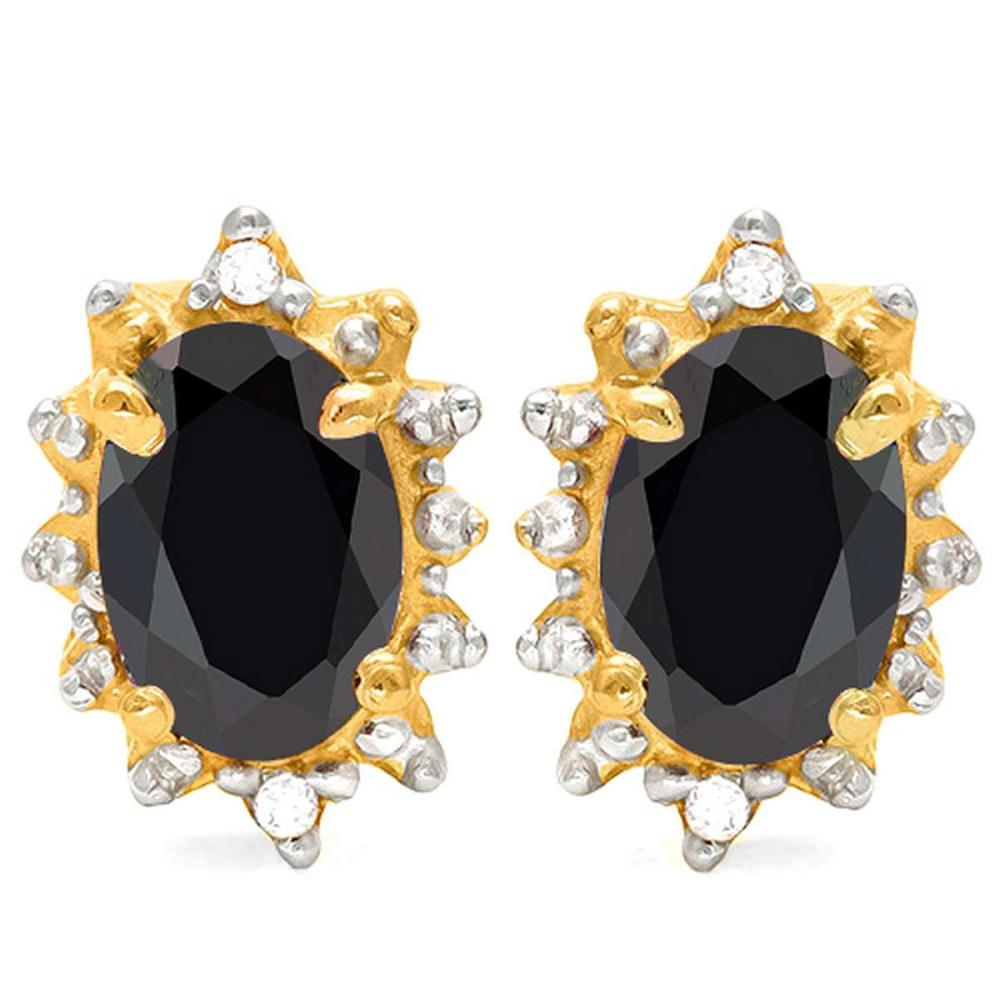 1.20 CT BLACK SAPPHIRE AND ACCENT DIAMOND 10KT SOLID YELLOW GOLD EARRING #IRS93718