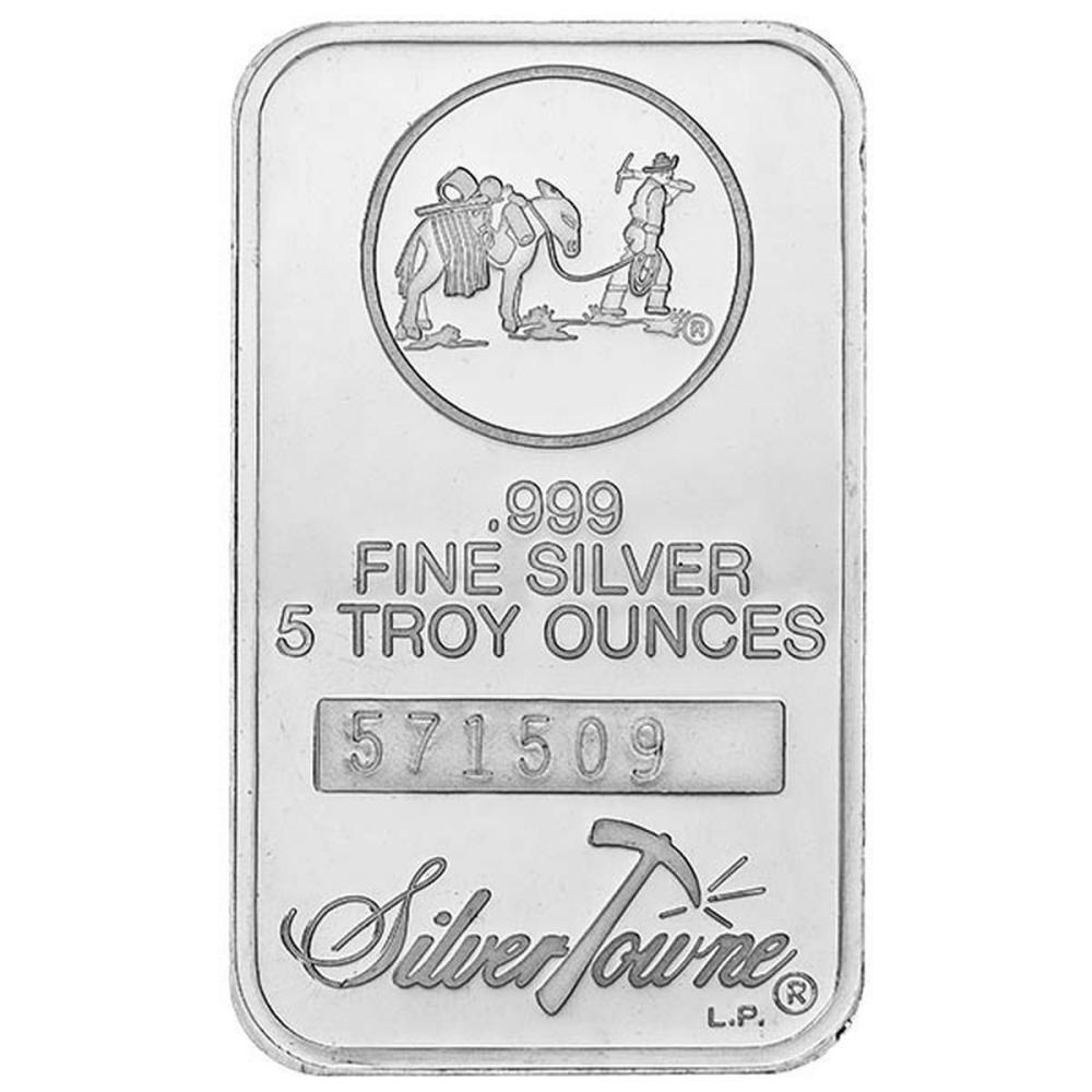 SilverTowne 5 oz Silver Bar - Prospector Design #IRS96613