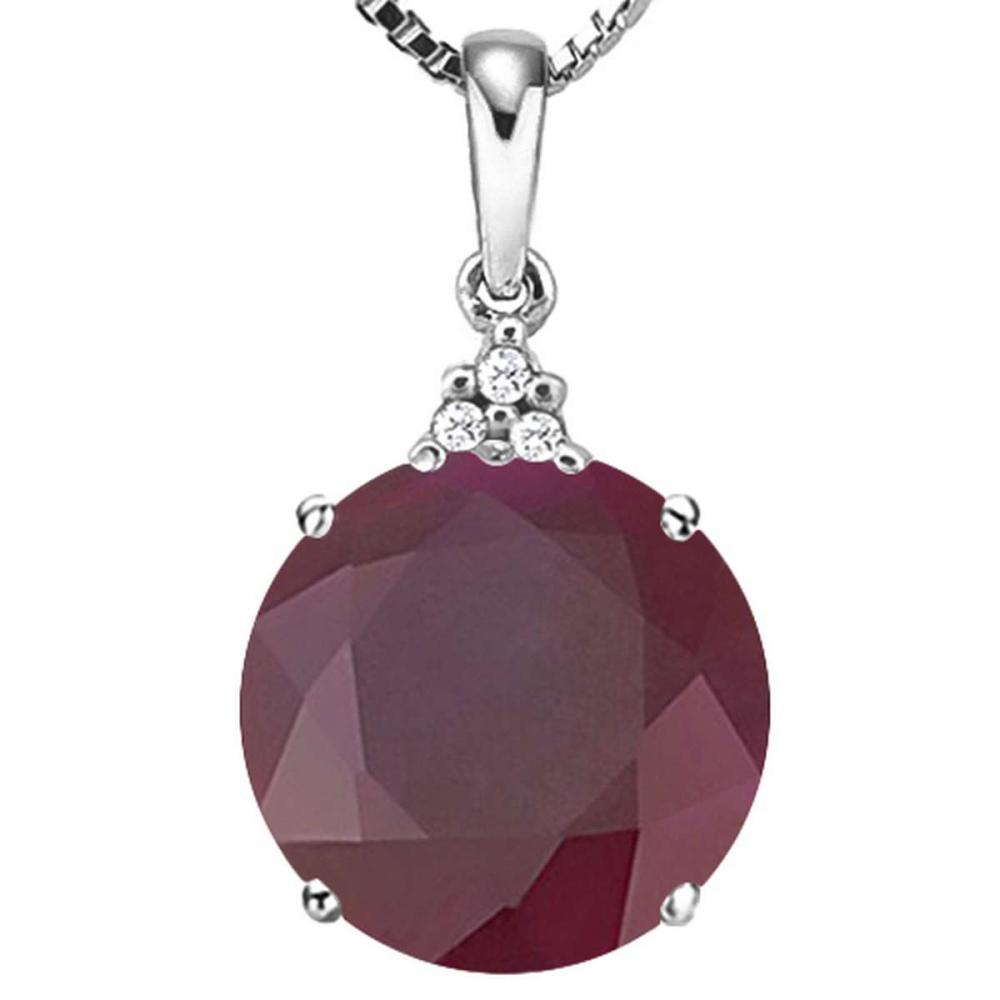 1.19 CTW RUBY 10K SOLID WHITE GOLD ROUND SHAPE PENDANT WITH ANCENT DIAMONDS #IRS15619