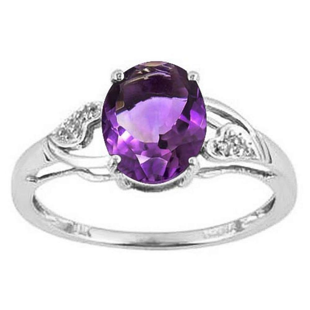 1.45 CTW AMETHYST & DIAMOND 10KT SOLID GOLD RING   #IRS56586