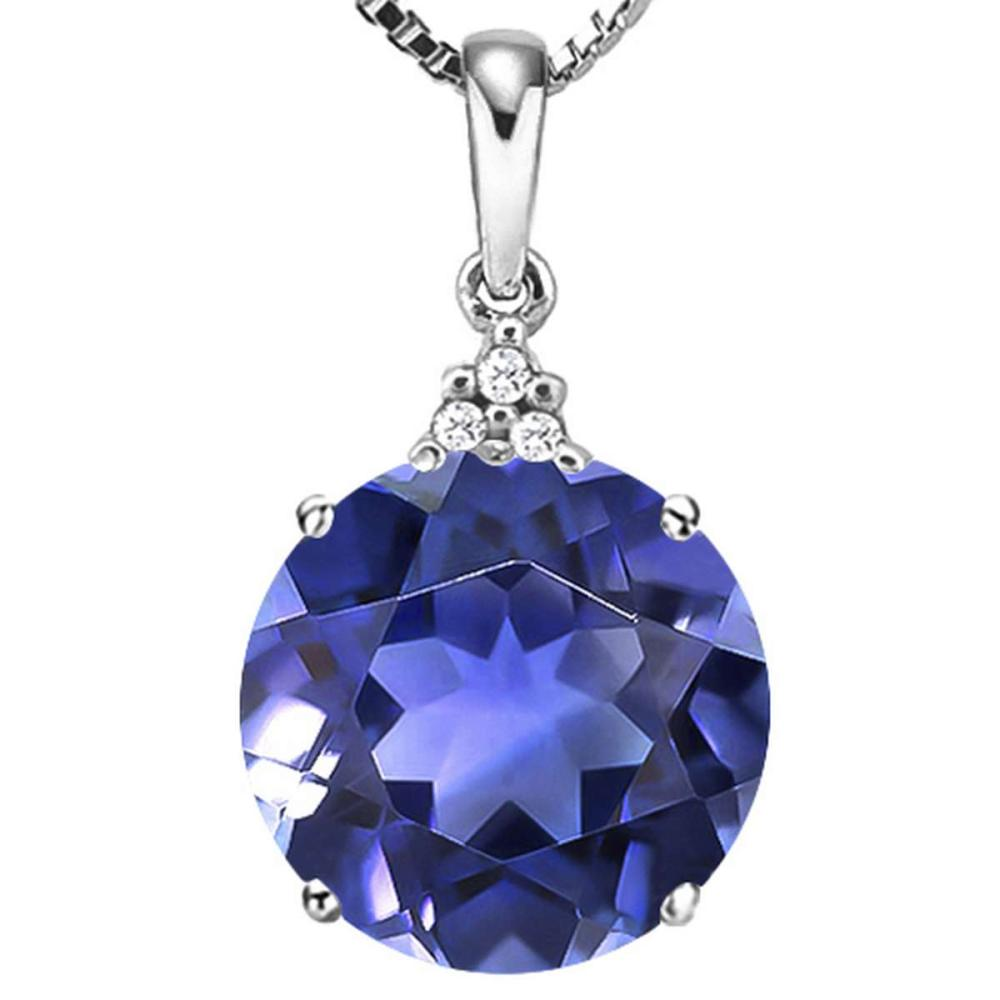 1.3 CTW CREATED TANZANITE 10K SOLID WHITE GOLD ROUND SHAPE PENDANT WITH ANCENT DIAMONDS #IRS15629