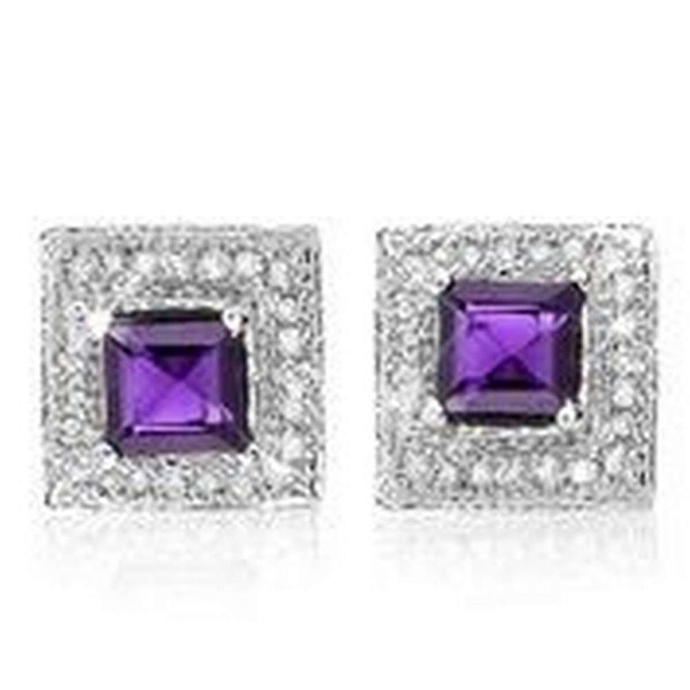 1 1/5 CTW AMETHYST .925 STERLING SILVER EARRINGS  #IRS20017