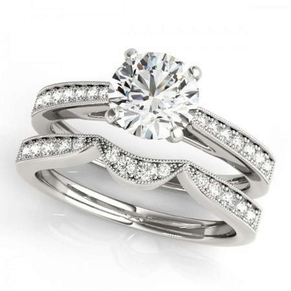 CERTIFIED 18KT WHITE GOLD .82 CTW G-H/VS-SI1 DIAMOND BRIDAL SET  #IRS86736