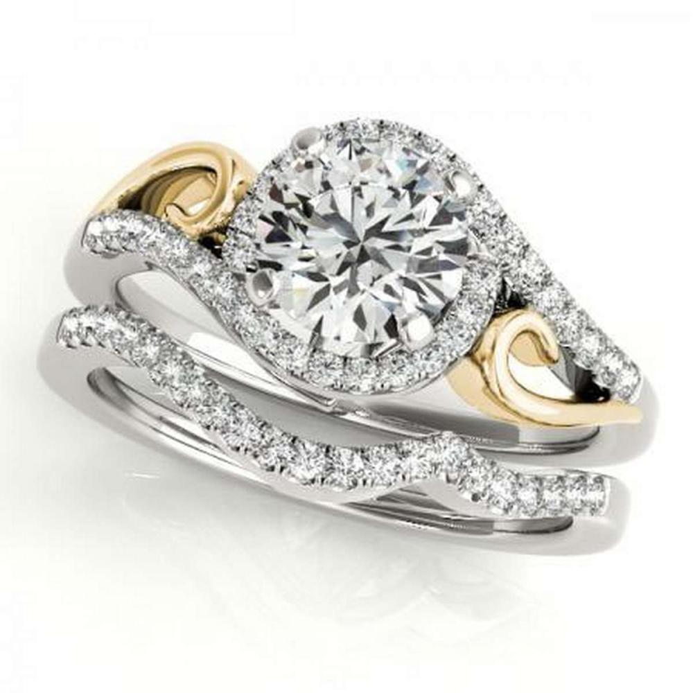 CERTIFIED 18KT TWO TONE GOLD 1.39 CTW G-H/VS-SI1 DIAMOND HALO BRIDAL SET #IRS86714