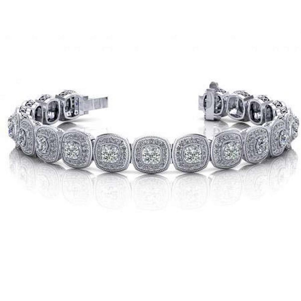 14KT WHITE GOLD 3 CTW G-H VS2/SI1 VINTAGE INSPIRED FANCY DIAMOND BRACELET #IRS20181