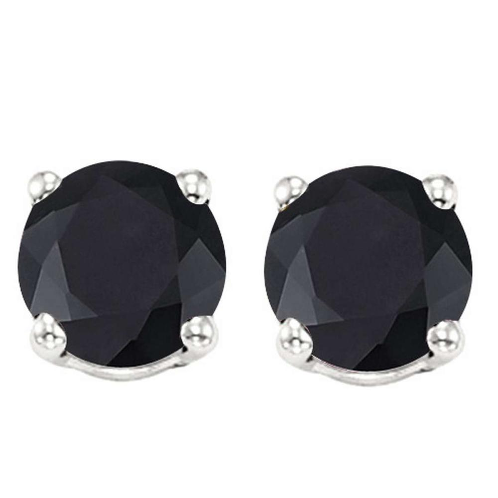 2.15 CT BLACK SAPPHIRE 10KT SOLID WHITE GOLD EARRING #IRS93670