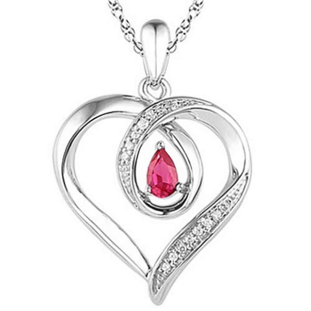 0.6 CARAT RUBY & CZ 14KT SOLID WHITE GOLD PENDANT #IRS77108