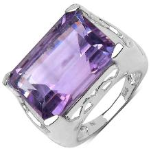 14.10 Carat Genuine Amethyst Sterling Silver Ring #76886v3
