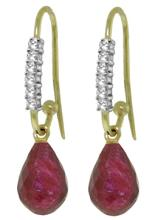 14K. GOLD FISH HOOK EARRINGS WITH DIAMONDS & RUBIES #44669v1