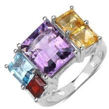 3.80 Carat Amethyst Ring with 2.70 ct. t.w. Multi-Gems in Sterling Silver #77102v3