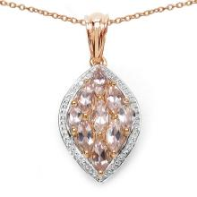 14K Rose Gold Plated 1.94 Carat Genuine Morganite .925 Sterling Silver Pendant #77988v3