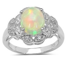 2.00 ct. t.w. Ethiopian Opal and White Cubic Zirconia Ring in Sterling Silver #77318v3