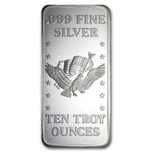 10 oz Silver Bar - U.S. Assay Office #74840v3