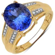 2.68 Carat Tanzanite & White Diamond 14K Yellow Gold Ring #77732v3