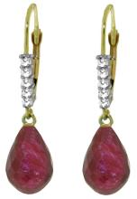 14K. GOLD LEVER BACK EARRINGS W/NR. DIAMONDS & RUBIES #44682v1