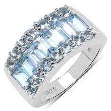 3.57 Carat Genuine Blue Topaz .925 Sterling Silver Ring #77093v3