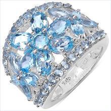 7.57 Carat Genuine Blue Topaz .925 Sterling Silver Ring #78180v3