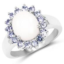 2.55 Carat Genuine Opal & Tanzanite .925 Sterling Silver Ring #77290v3