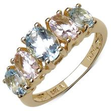18K Yellow Gold Plated 2.17 Carat Genuine Aquamarine & Morganite .925 Sterling Silver Ring #77964v3